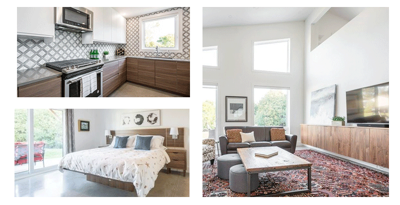 three images of staged rooms